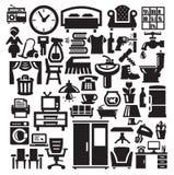 Home möblemang- och anordningsymboler Fotografering för Bildbyråer