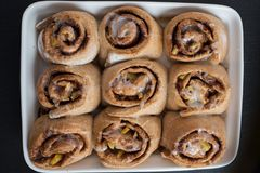 Apple cinnamon buns with whole wheat Stock Images