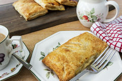 Home Made Apple Turnover with Coffee Stock Photo