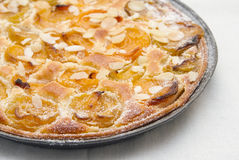 Home made apricot fruit pie. Topped with flaked almonds royalty free stock photos