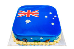 Home made Australia Day cake. Themed under colours of Australian Flag and decorated with koalas and kangaroos Royalty Free Stock Photos