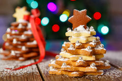 Home made baked Christmas gingerbread tree as a gift Stock Photography