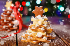 Home made baked Christmas gingerbread tree as a gift Stock Image