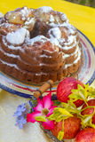 Home-made banana apple cake on natural background Stock Photo