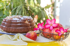 Home-made banana apple cake on natural background Royalty Free Stock Images