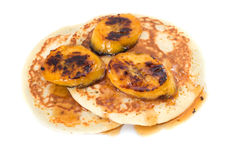 Home made Banana pancakes with syrup Royalty Free Stock Photography