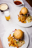 Home made beef burgers Stock Images