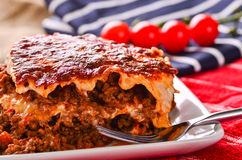 Home made beef lasagna Royalty Free Stock Photography