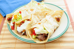 Home made beef tacos with flank steak, salsa and greek yogurt Royalty Free Stock Photo