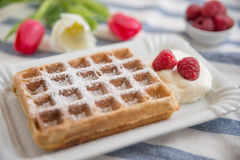 Home made Belgian waffles Stock Photo