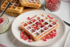Home made Belgian waffles stock photography