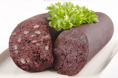 Home made black pudding with parsley Stock Image