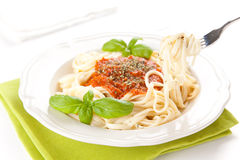 Home made bolognese noodles Royalty Free Stock Photo