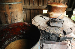 Home made brandy distillery. Romania royalty free stock image