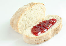 Home made bread. Home made chiabatta white bread on the grey background Royalty Free Stock Photo