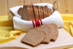 Home made bread in a basket Royalty Free Stock Photos