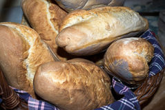 Home made bread in a basket Stock Photos