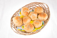 Home made bread in a basket Stock Photos