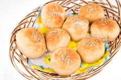 Home made bread in a basket Stock Photo