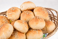 Home made bread in a basket Stock Images