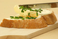 home made bread with butter and a knife Stock Images