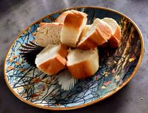 Home made bread with golden crust stock photo