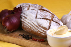 home made bread with onion and butter Royalty Free Stock Images