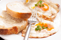 Home made bread and organic fried eggs Royalty Free Stock Photos