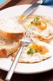 Home made bread and organic fried eggs Royalty Free Stock Image