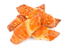 Free Home Made Bread Rolls With Sesame Seeds On White Royalty Free Stock Image - 18768756