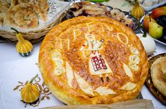 Home made bread with traditional decoration Royalty Free Stock Photos