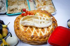 Home made bread with traditional decoration Royalty Free Stock Photography