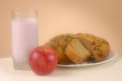 Home made bread yogurt and apple Royalty Free Stock Image
