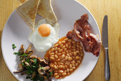Home made breakfast. Top view of a delicious english breakfast Royalty Free Stock Images