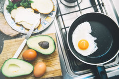 Home made breakfast of eggs, avocado toast and coffee. Royalty Free Stock Images