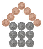 Home made from British coins Royalty Free Stock Images