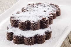 Home made brown cake with powdered sugar Royalty Free Stock Image