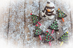 Home made brownies winter tree shape Stock Photo