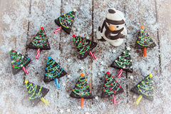 Home made brownies winter tree shape Royalty Free Stock Photography