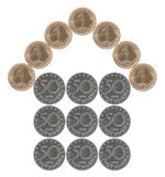 Home made from Bulgarian coins Stock Images