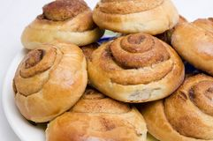 Home-made buns with cinnamon. Buns with cinnamon, baked at home Stock Photo