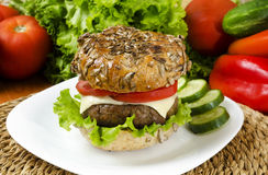 Home made burger for chrono diet. With selective focus Stock Image