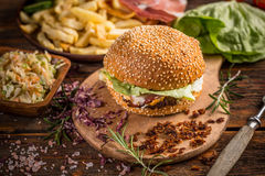 Home made burger Royalty Free Stock Image
