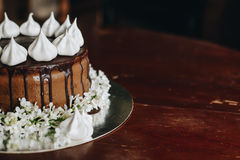A home made cake covered by chocolate Royalty Free Stock Photography