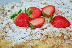 Strawberry pie. Home made  cake decorated with fresh strawberry and  sugar powder Royalty Free Stock Image