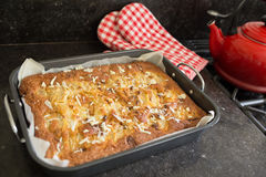 Home made cake with pears and white chocolate Stock Photos