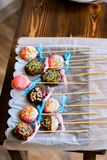 Home made Cake pops on plate Stock Photos