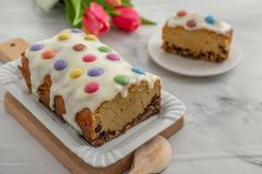 Home made cake with smarties. Home made sweet pound cake with smarties on  a table Stock Photography