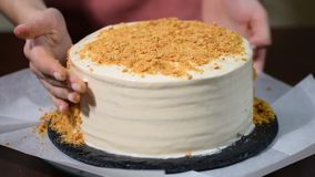 Home made cake with sprinkling. The Baker sprinkles the crumbs on cake. Home made cake with sprinkling. The Baker sprinkles the crumbs on cake stock video