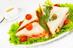 Home-made canape sandwiches Royalty Free Stock Photos
